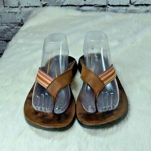 Chaco Flip Ecotread Brown Leather Striped Sandals
